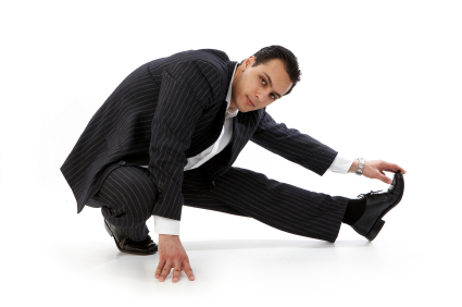 Stretching Businessman